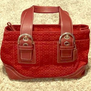 Red jacquard and leather Coach purse bag